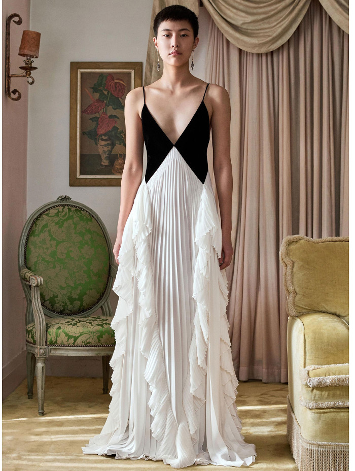 Givenchy Pre Fall 2018 Collection black and white ruffle gown
