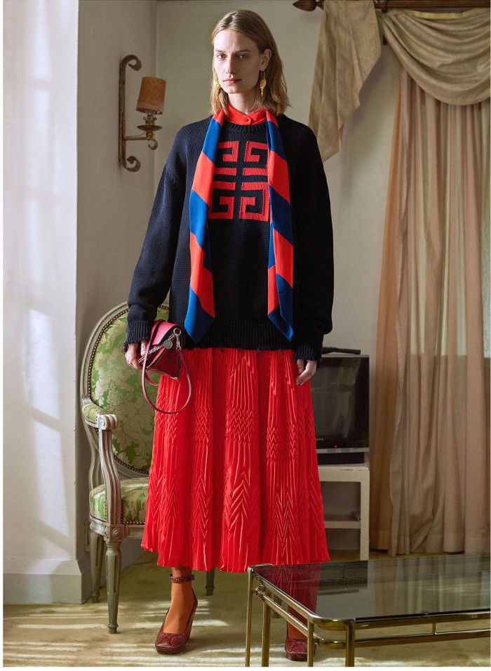 Givenchy Pre Fall 2018 Collection ruffle skirt and graphic sweater