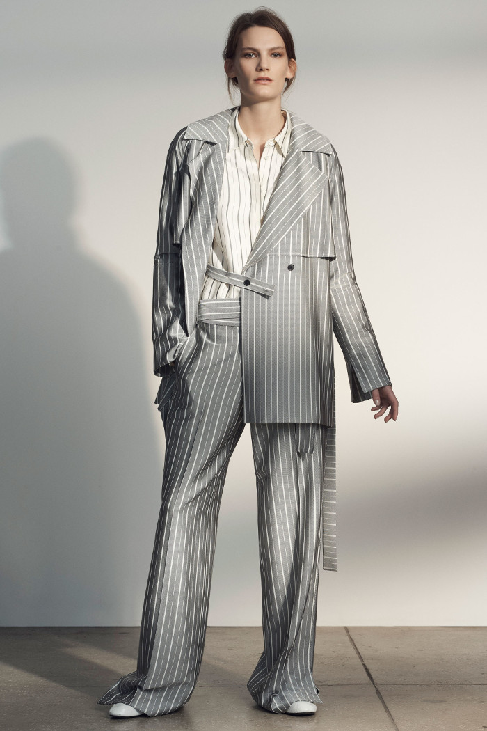 Grey Jason Wu Pre Fall 2018 Collection stripe suit