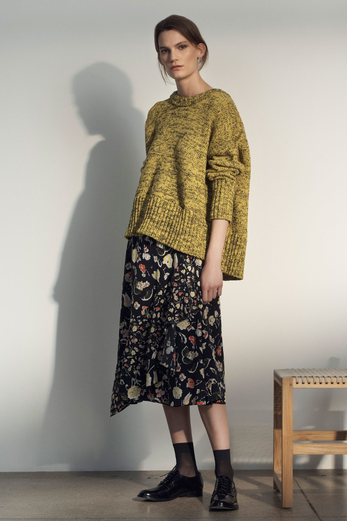 Grey Jason Wu Pre Fall 2018 Collection knitted sweater and floral skirt