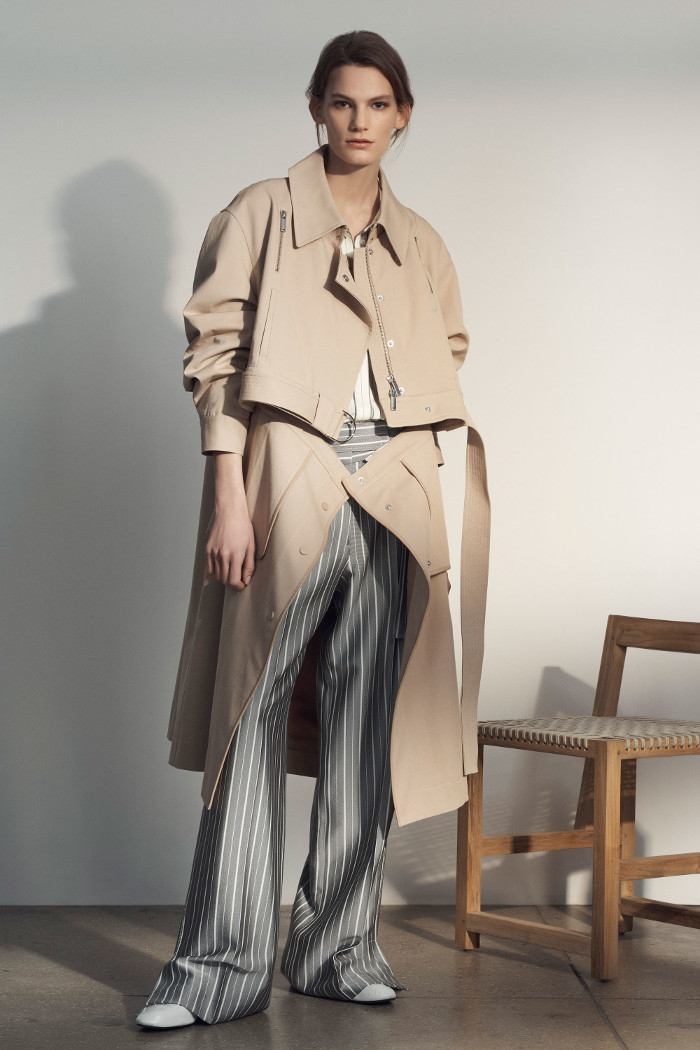 Grey Jason Wu Pre Fall 2018 Collection nude trench coat and stripe wide leg trousers