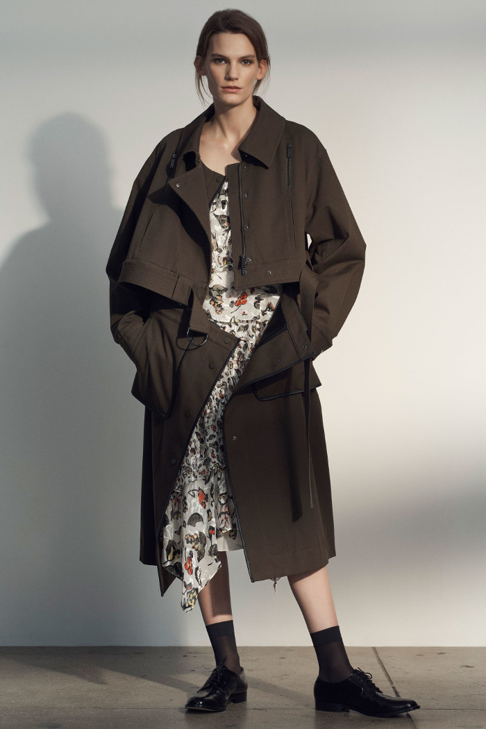 Grey Jason Wu Pre Fall 2018 Collection brown trench coat and floral dress