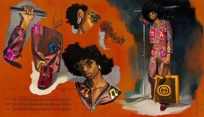 "Gucci's Spring 2018 ""Utopian Fantasy"" Campaign tracksuit"