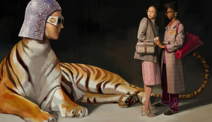 "Gucci's Spring 2018 ""Utopian Fantasy"" Campaign coat skirt blazer"
