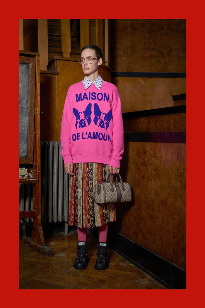 Gucci Pre Fall 2018 Collection slogan sweater and midi skirt