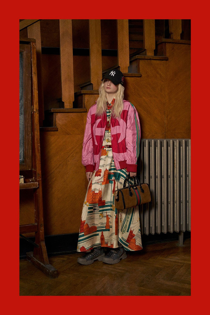 Gucci Pre Fall 2018 Collection jacket and maxi dress