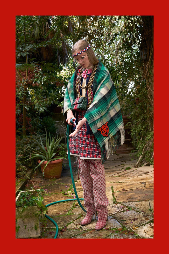 Gucci Pre Fall 2018 Collection oversized scarf and patterned ensemble