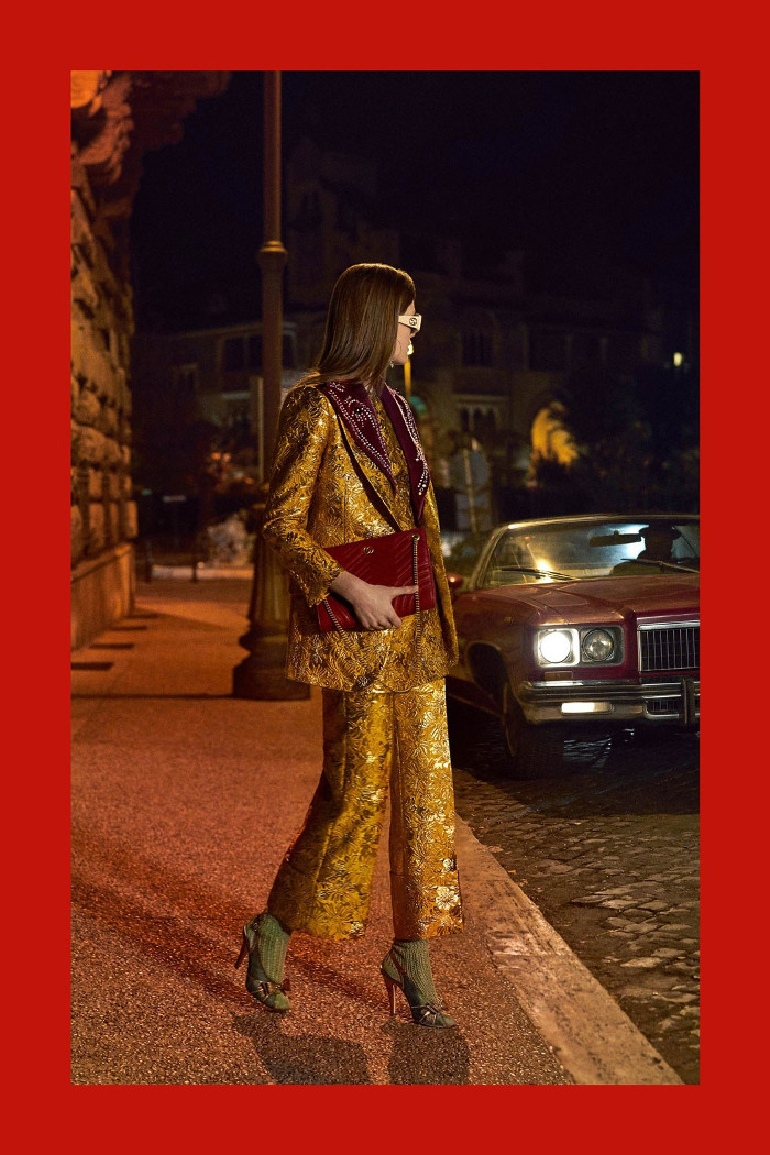 Gucci Pre Fall 2018 Collection brocade suit