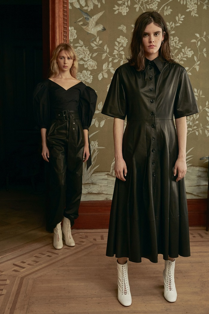 Jill Stuart Pre-Fall 2018 Collection black leather dress blouse pants