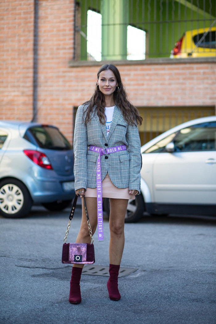 Long Belts Are Winter's Hottest Accessory plaid jacket pink skirt