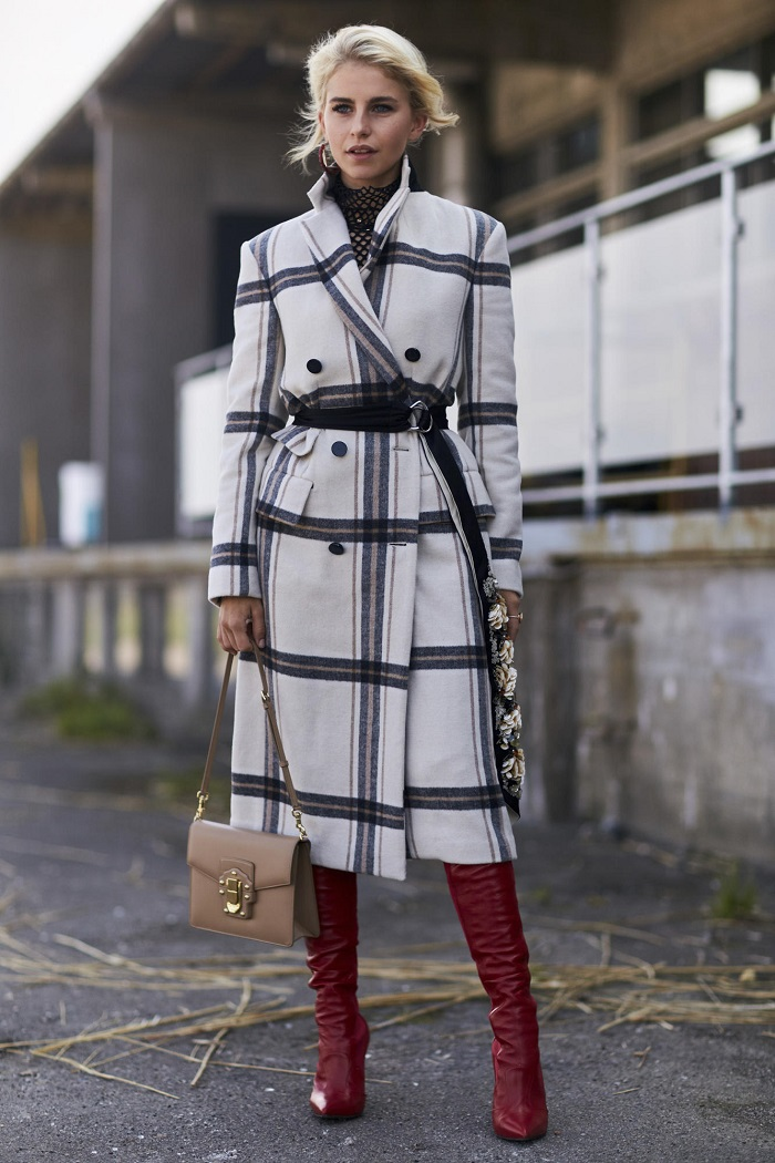 Long Belts Are Winter's Hottest Accessory plaid coat red boots