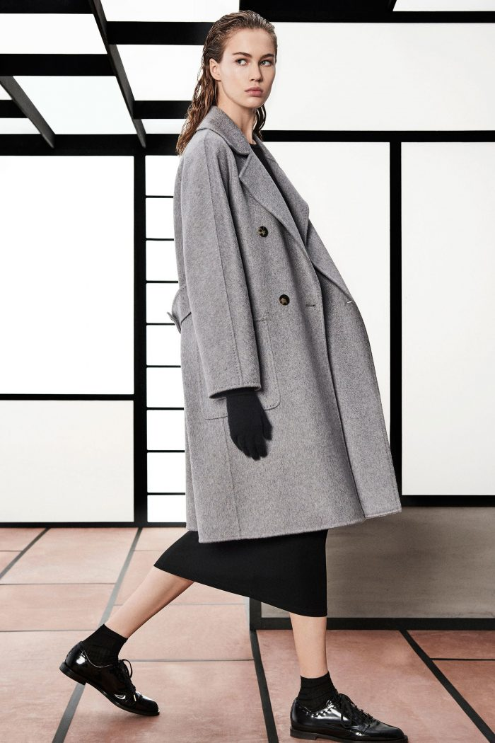 Max Mara Pre-Fall 2018 Collection gray coat black skirt