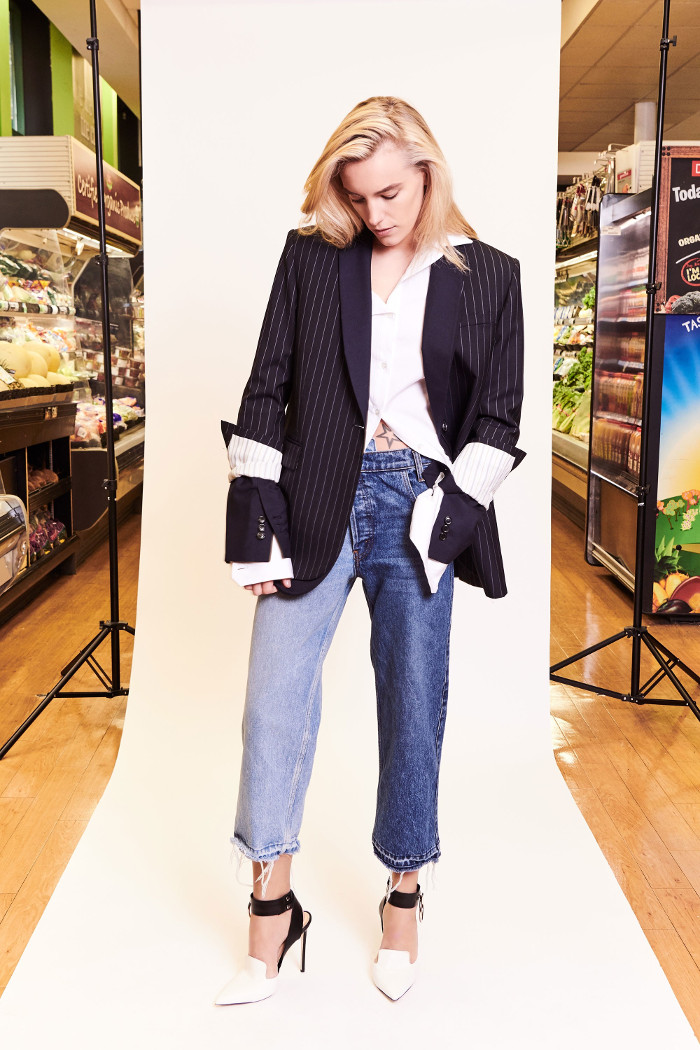 Monse Pre Fall 2018 Collection mismatched jeans and stripe blazer