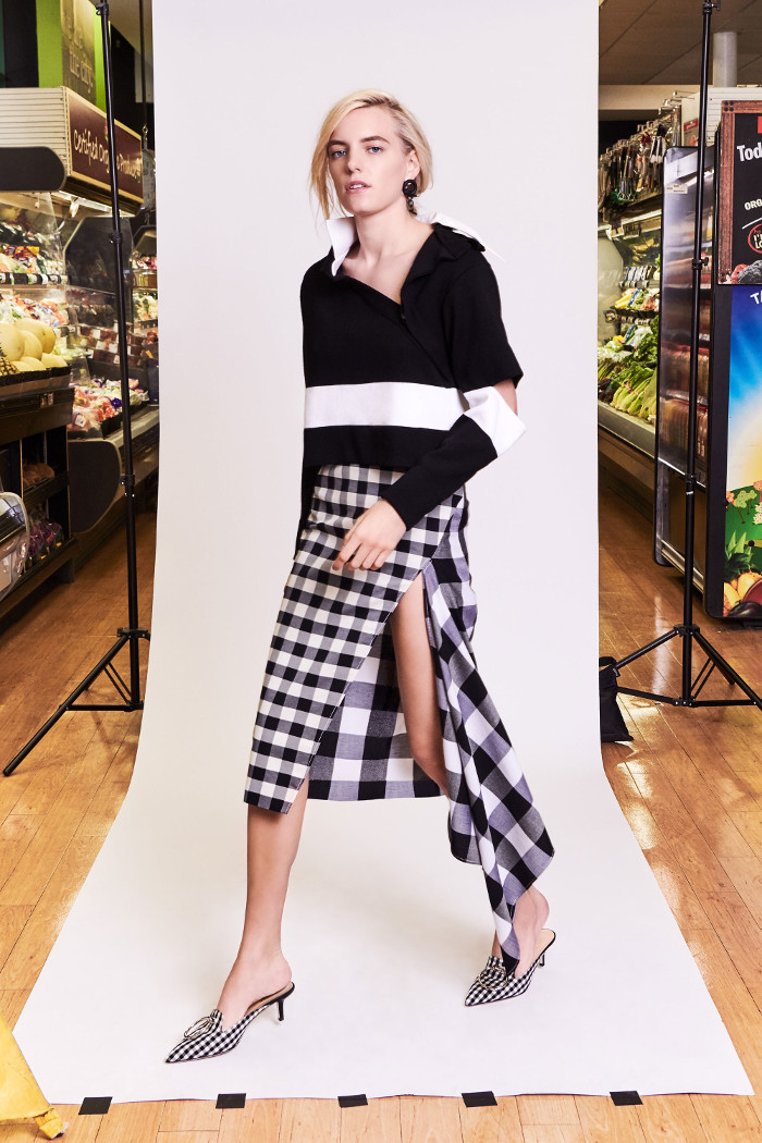 Monse Pre Fall 2018 Collection sweater and asymmetric side slit skirt
