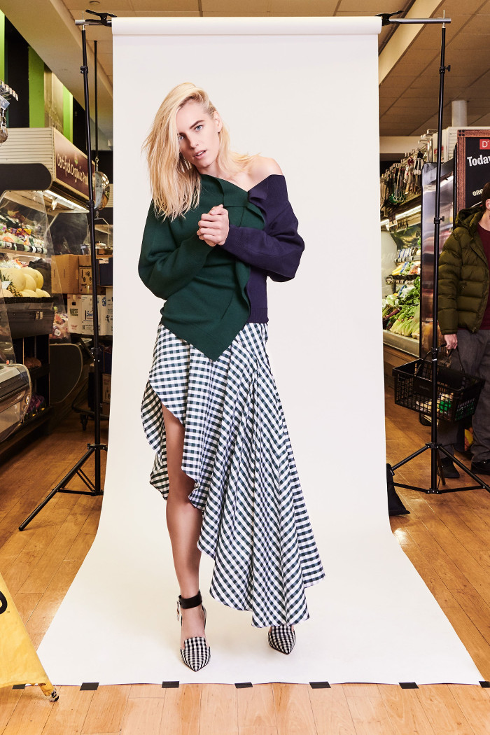 Monse Pre Fall 2018 Collection asymmetric skirt and off the shoulder top