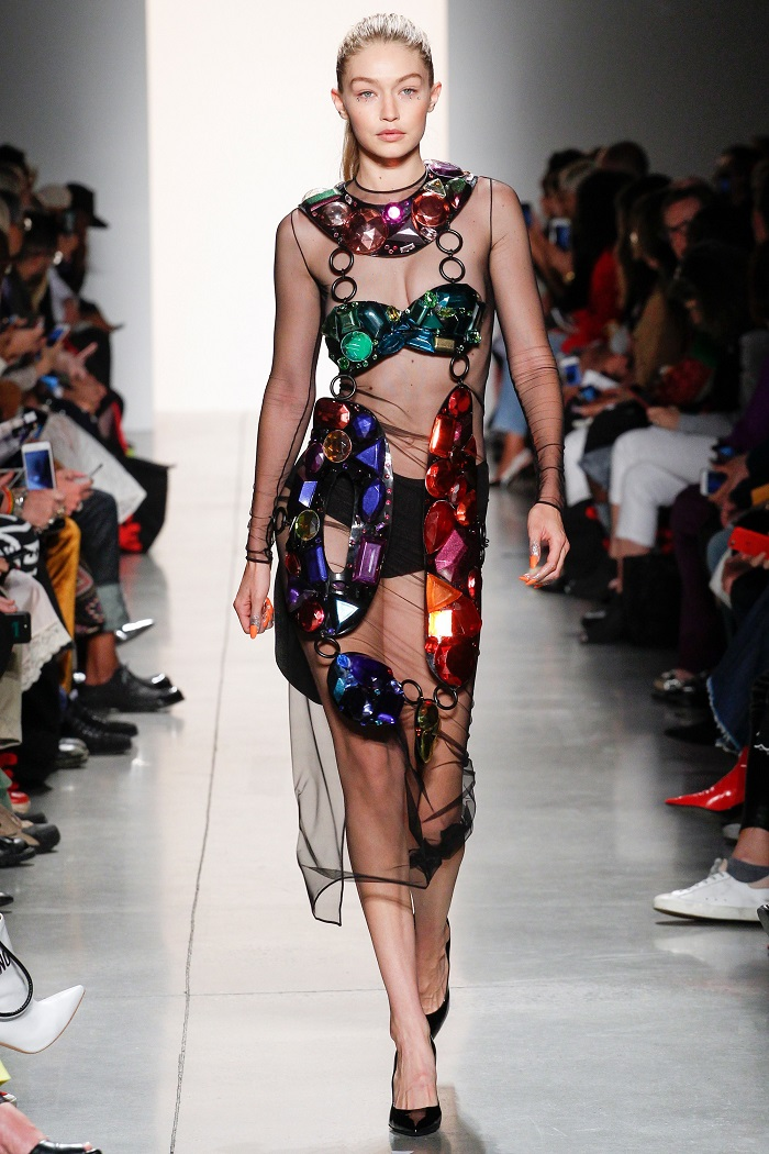 New York Fashion Week Introduces a Series of Changes semi sheer stone embellished dress