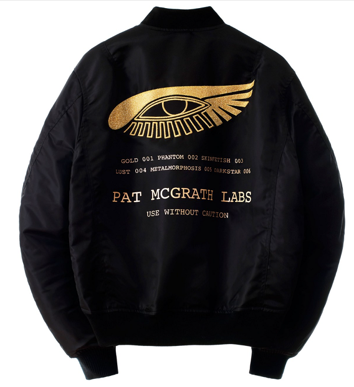 "Pat McGrath Unveils Merch Line ""Apparel 001"" black bomber jacket"