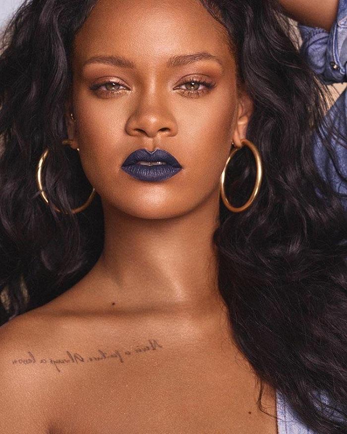 Rihanna Reveals Mattemoiselle Matte Lipsticks Fenty Beauty navy lipstick