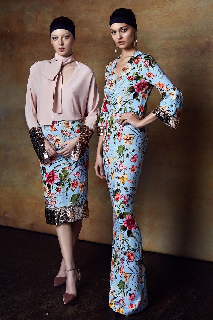 Sachin & Babi Pre-Fall 2018 Collection long floral dress floral skirt pink shirt