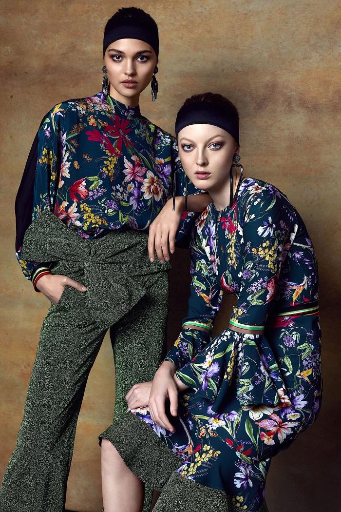 Sachin & Babi Pre-Fall 2018 Collection floral dress shirt glittery pants