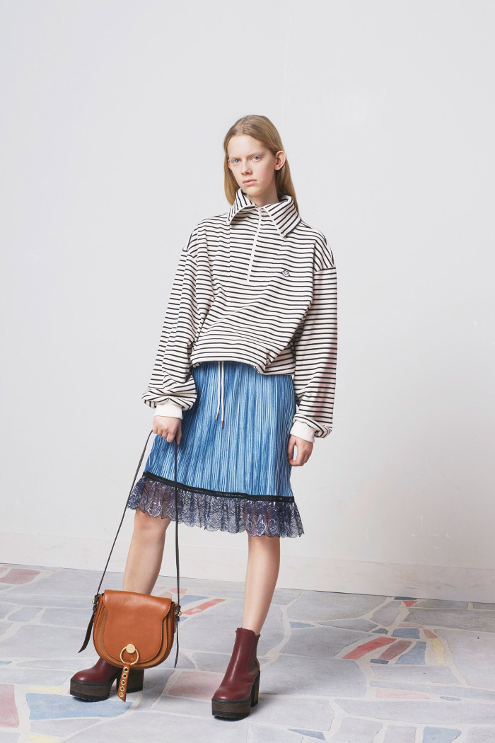 See by Chloé Pre Fall 2018 Collection pleated skirt and sweater