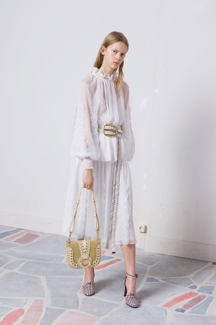 See by Chloé Pre Fall 2018 Collection white sheer blazer and skirt