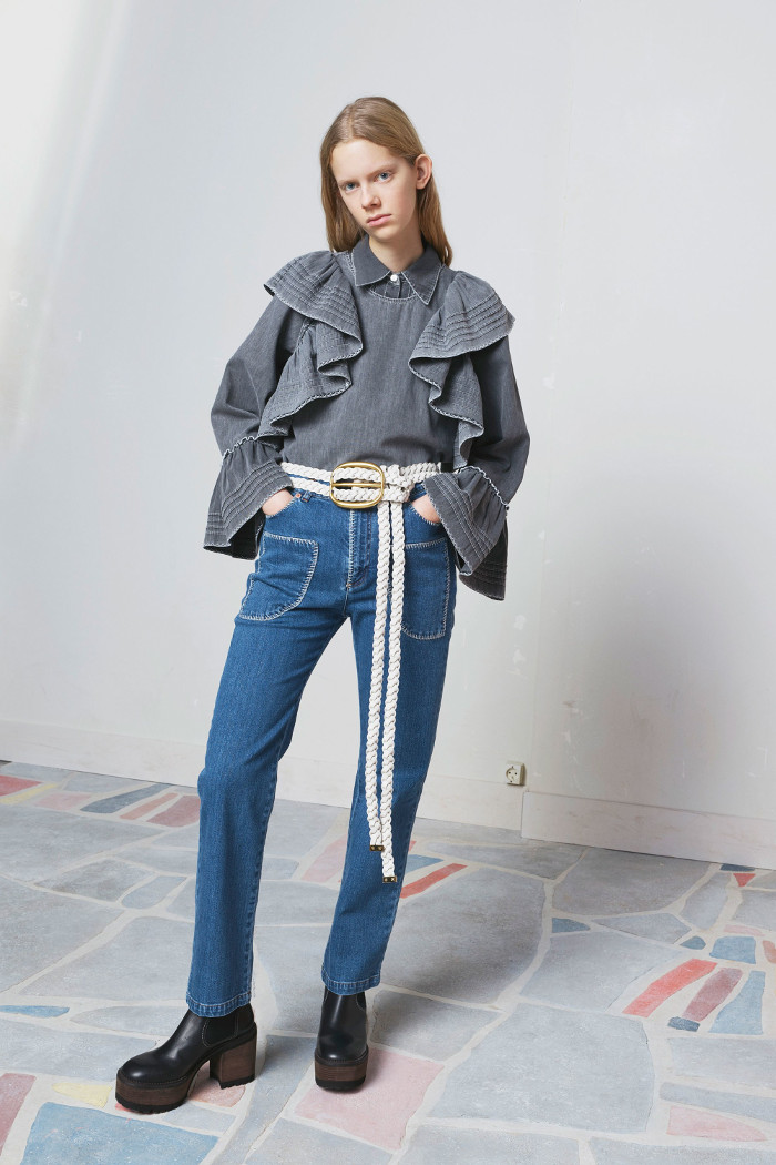 See by Chloé Pre Fall 2018 Collection ruffle blouse and jeans