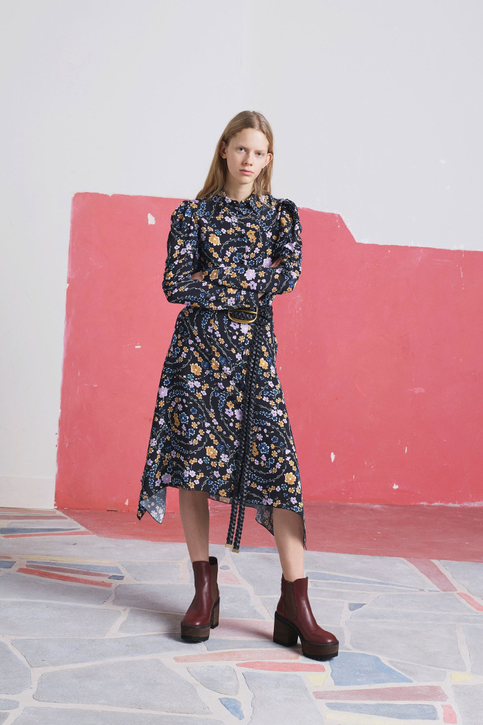 See by Chloé Pre Fall 2018 Collection floral asymmetric dress