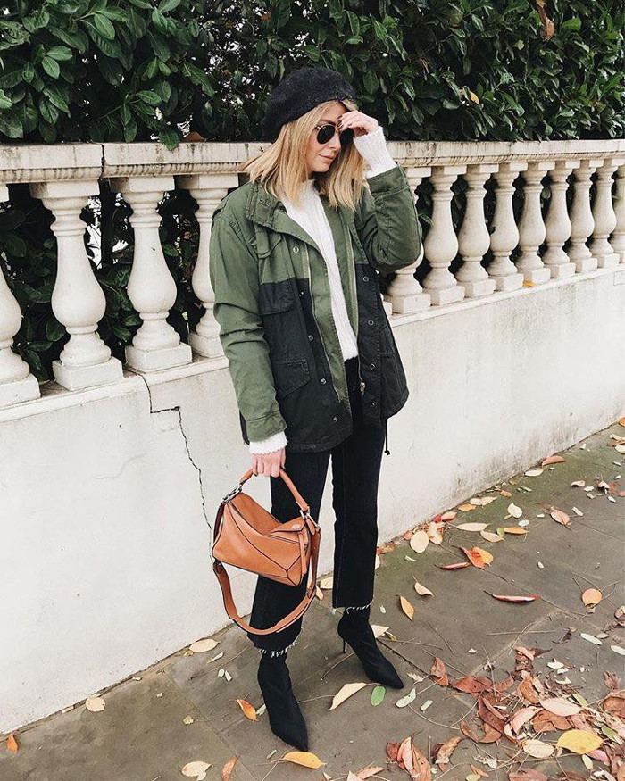 Style Guide How to Revamp Black Jeans olive jacket, white top and black jeans