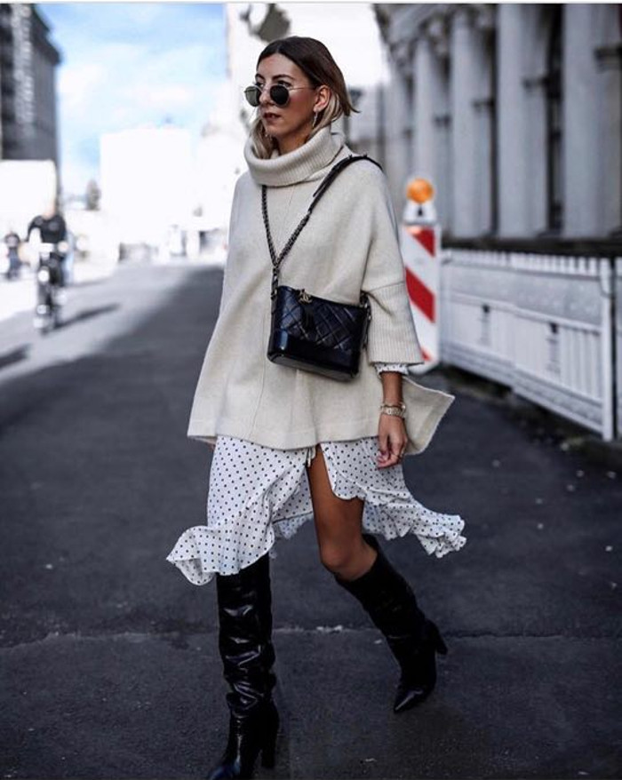 Stylish Winter Outfits to Copy Now ruffle skirt and oversized sweater