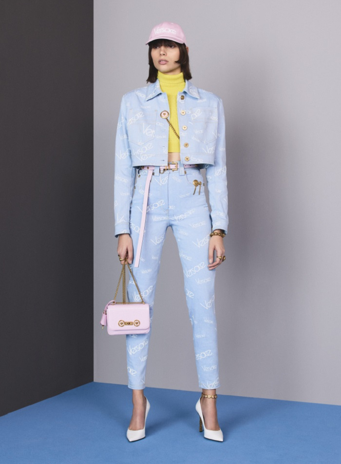 Versace Pre-Fall 2018 Collection blue pants cropped jacket