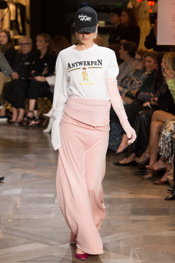 Vetements to Show During Mens Paris Fahsion Week maxi skirt and slogan sweater
