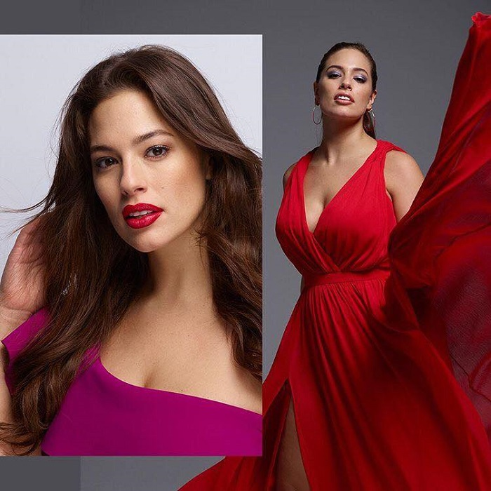 Adwoa Aboah, Ashley Graham & More Join Revlon's Live Boldly Campaign Ashley Graham red dress red lipstick magenta dress