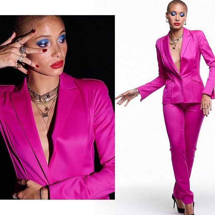 Adwoa Aboah, Ashley Graham & More Join Revlon's Live Boldly Campaign Adwoa Aboah blue eyeshadow red lipstick magenta suit