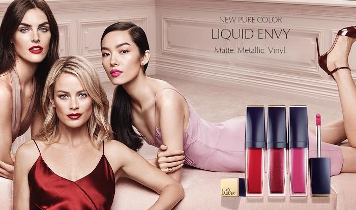 Estée Lauder's Pure Color Envy Liquid LipColor Campaign Fei Fei Sun Hilary Rhoda Carolyn Murphy