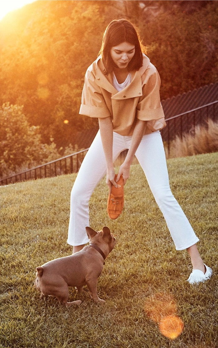 Kendall Jenner Fronts Tod's Spring 2018 Campaign white pants camel top