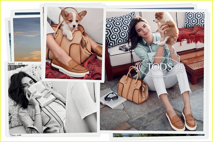 Kendall Jenner Fronts Tod's Spring 2018 Campaign white pants blue top