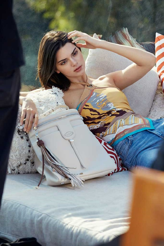 Kendall Jenner Fronts Tod's Spring 2018 Campaign jeans colorful top