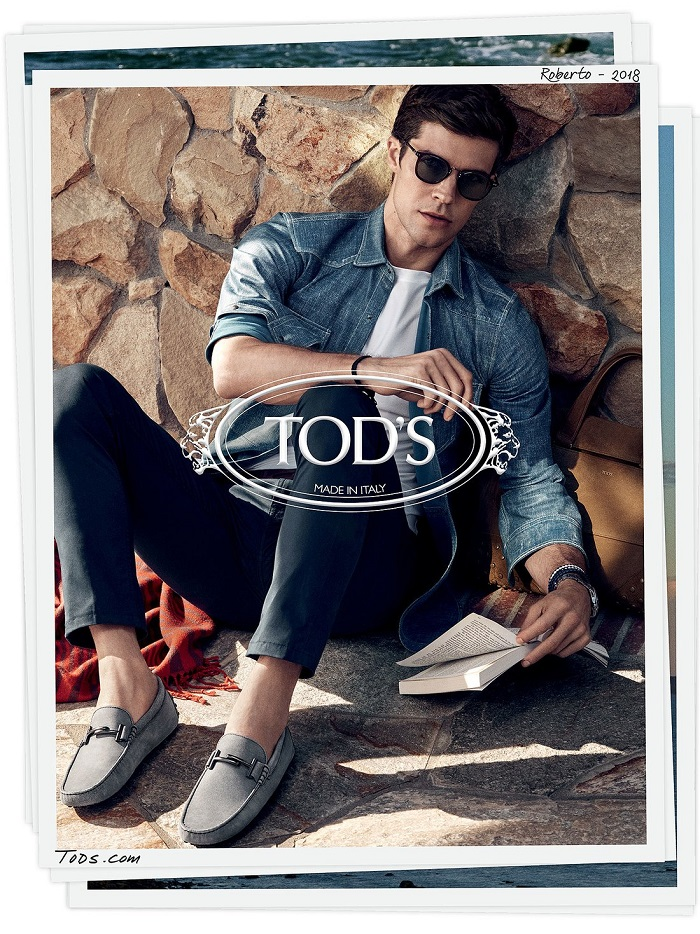 Kendall Jenner Fronts Tod's Spring 2018 Campaign denim shirt jeans