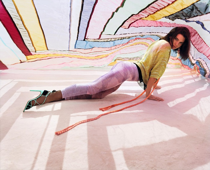 Missoni's Spring Summer 2018 Ads Feature Kendall Jenner pink leggings yellow sweater