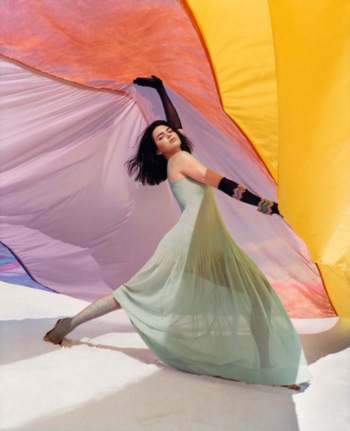 Missoni's Spring Summer 2018 Ads Feature Kendall Jenner large patchwork sheer dress