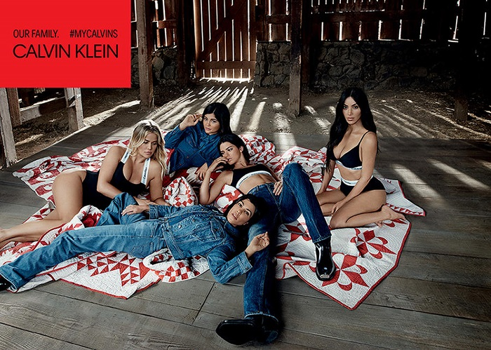 The Kardashian Jenner Sisters Front Calvin Klein's New Ads black underwear denim jacket jeans shirt