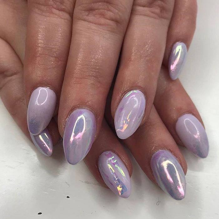 Trendy Holographic Art To Glam Up Your Mani lavender nails