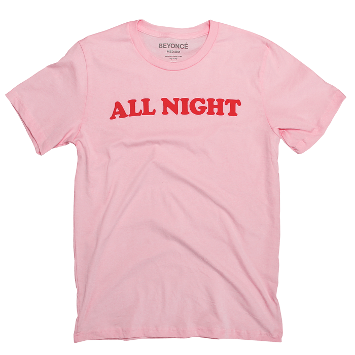 Beyoncé Drops Valentine's Day Merchandise pink all night t-shirt