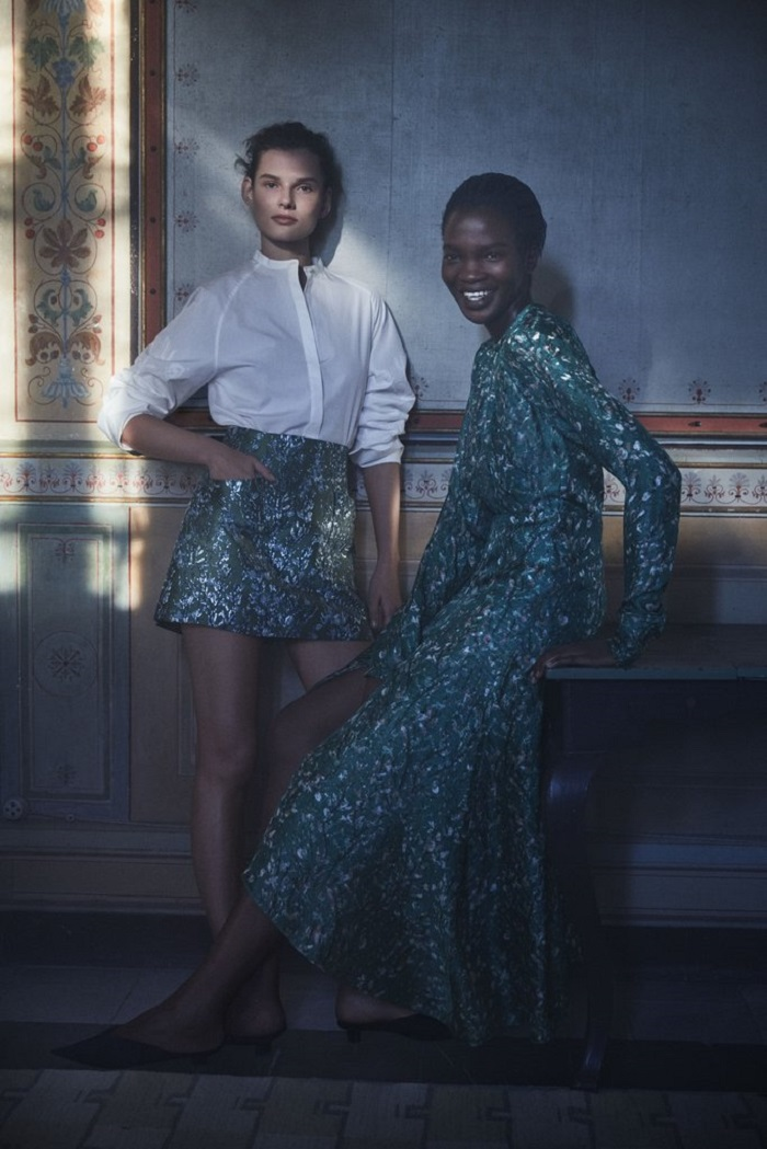 Christy Turlington Stuns in H&M's Conscious 2018 Ads white shirt green skirt dress
