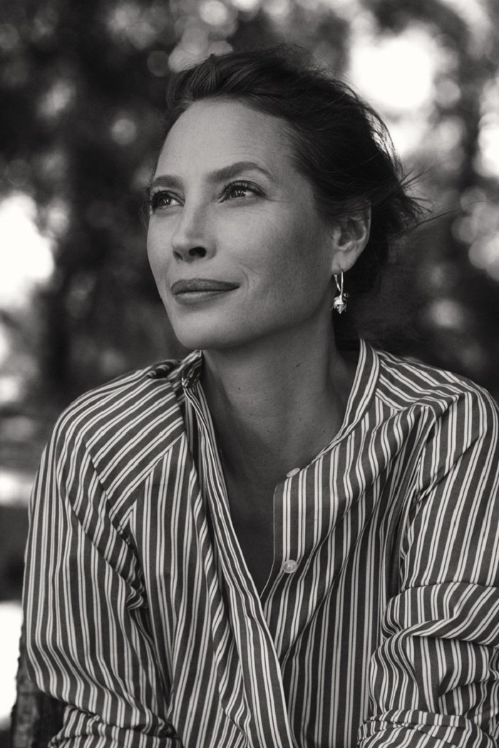 Christy Turlington Stuns in H&M's Conscious 2018 Ads striped shirt