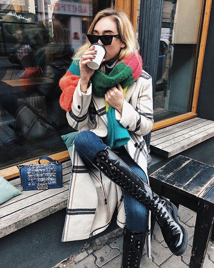 Colorful Outfits to Brighten Up the Cold Days jeans white and black coat colorful scarf