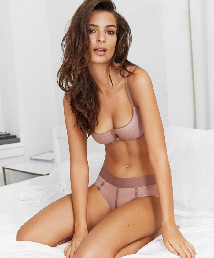Emily Ratajkowski Fronts DKNY's Spring 2018 Intimates Campaign dusty pink bra panties