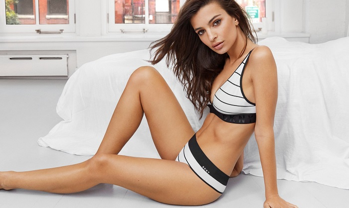 Emily Ratajkowski Fronts DKNY's Spring 2018 Intimates Campaign striped bra panties