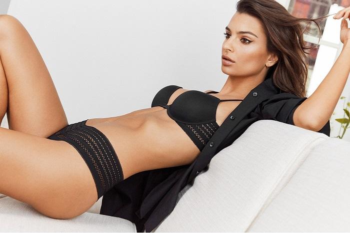 Emily Ratajkowski Fronts DKNY's Spring 2018 Intimates Campaign black bra panties